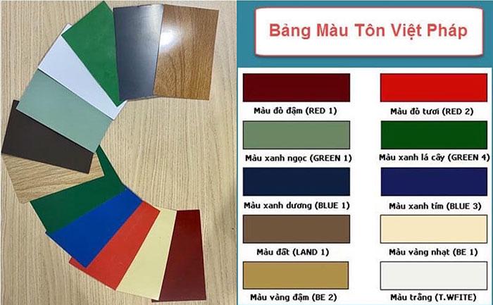 Bảng màu chuẩn tôn Việt Pháp