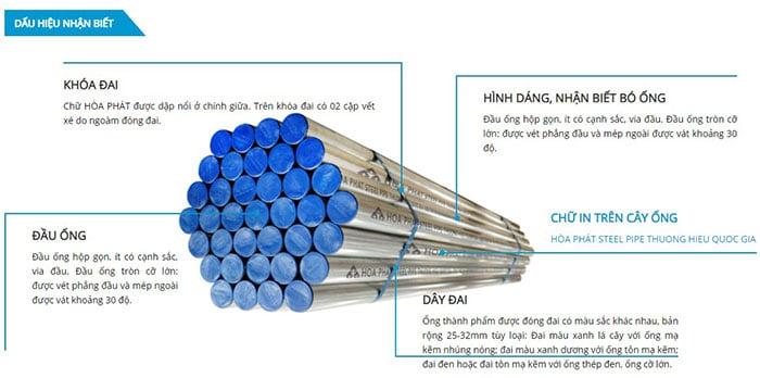 Dấu hiệu nhận biết thép ống Hòa Phát